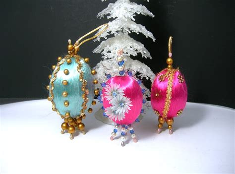 vintage hand beaded christmas tree ornaments 1960s era egg