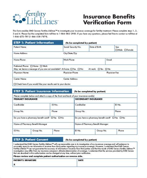 insurance verification form template sle insurance verification form 10 free documents in