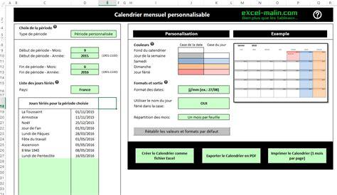 calendrier mensuel excel modifiable et gratuit excel