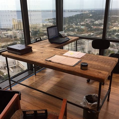 How To Make Pipe L wood l shape desk crafted of reclaimed wood with pipe