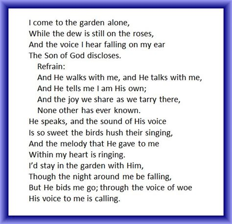 In The Garden Hymn Lyrics by In The Garden Southern Gospel On Piano Grace Notes