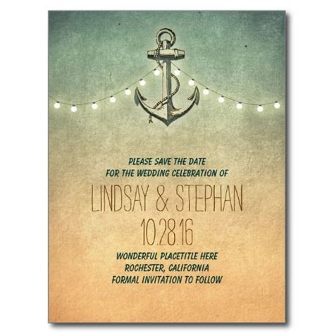 river boat wedding invitations vintage anchor nautical save the date postcards vintage