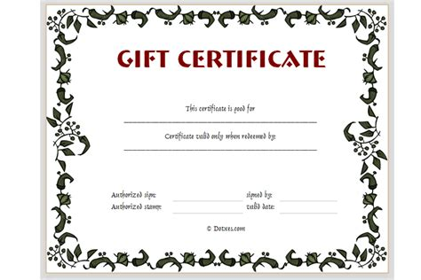 personalized gift certificates template free free printable gift