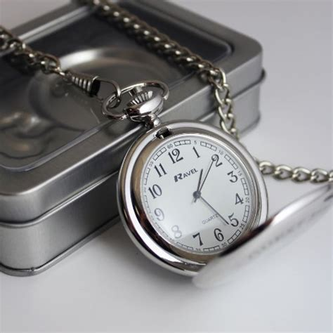 Personalised Silver Finish Pocket Watch, Chain and Box