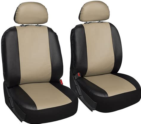 upholstery seat covers faux leather car seat covers black tan 6pc bucket set w