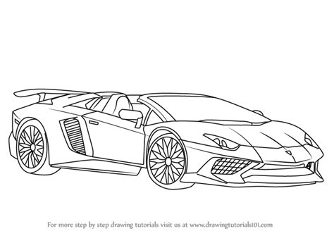 learn how to draw lamborghini aventador lp750 4 sv roadster sports cars step by step drawing