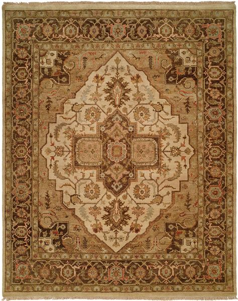 brown accent rug brown border with ivory medallion and tan field light