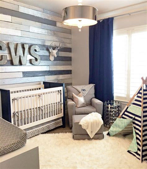 gray baby room metallic wood wall nursery project nursery