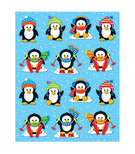 Stiker Pinguin penguins shape stickers grade pk 5 carson dellosa publishing