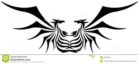 stylized two headed dragon tattoo isolated stock vector