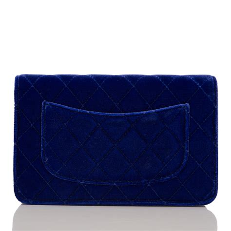 Chanel Classic Quilted Woc by Chanel Electric Blue Velvet Classic Quilted Wallet On