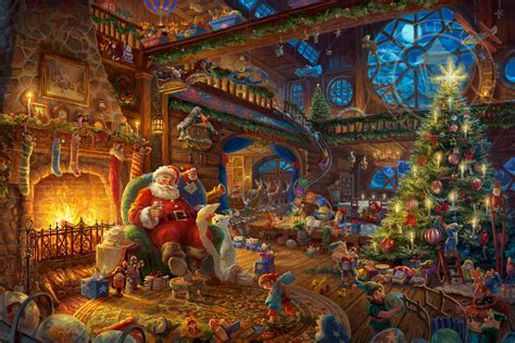 homeade lifesize thinas kinkade christmas tree santa s workshop limited edition kinkade galleries of new york new jersey
