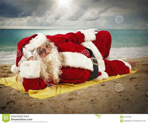 beach holiday  santa claus stock photo image