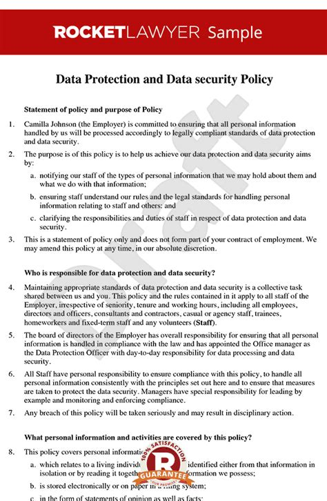 Data Protection Policy Data Security Policy Data Protection Policy Template Data Privacy Agreement Template