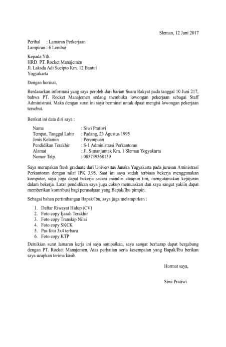 format surat lamaran kerja yang diketik 7 contoh surat lamaran kerja resume dreambegins