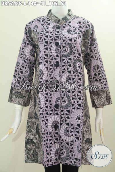 Pakaian Terusan Wanita Grey Print Dress Size L 416967 toko busana batik elegan dan mewah harga murah