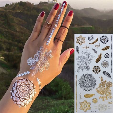 gold henna temporary tattoo gold choker temporary sleeve arm flash