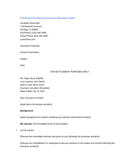 Insurance Demand Letter And Suffering Demand Letter To Insurance Company Sle Docoments Ojazlink