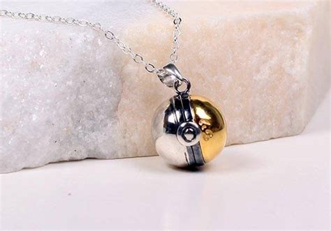 Handcrafted Pokeballs - handcrafted pokeball silver necklace gadgetsin