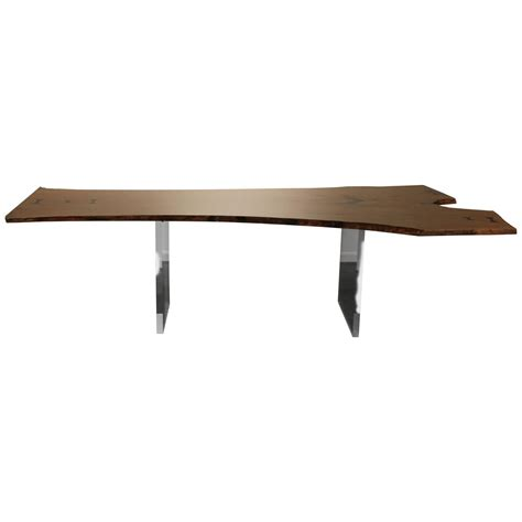 Live Edge Dining Table For Sale Live Edge Dining Table Or Desk Floating With Lucite Legs For Sale At 1stdibs