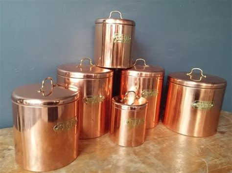 vintage kitchen copper canister set of 6 by vintagekitchenshop set of 6 vintage copper and brass kitchen canisters