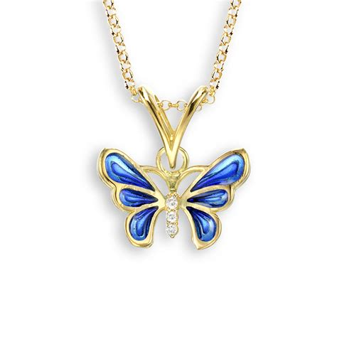 18 carat gold tiny butterfly necklace with diamonds blue
