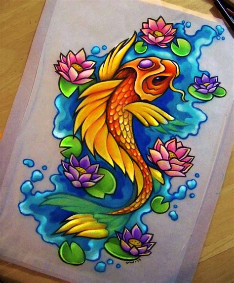 koi and lotus tattoo designs koi lotus commission by danniichan on deviantart