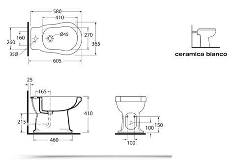 misure scarichi bagno sanitari bagno bidet con water serie classica scarico a