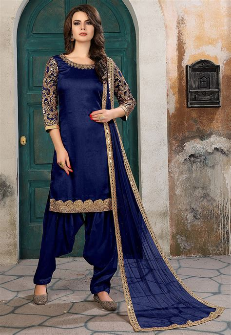 embroidered art silk punjabi suit  navy blue kch