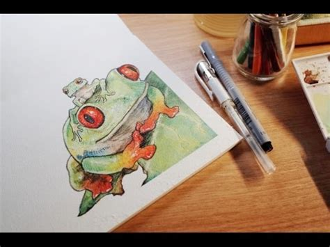 watercolor tutorial sakura koi 손그림 그리기 watercolor painting red eyed tree frog sakura