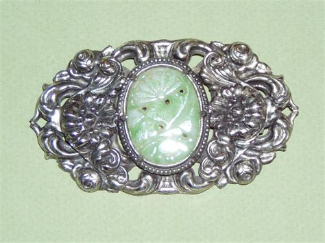 Large Silver L by Large Vintage Silver Brooch Faux Jade From Phalan On