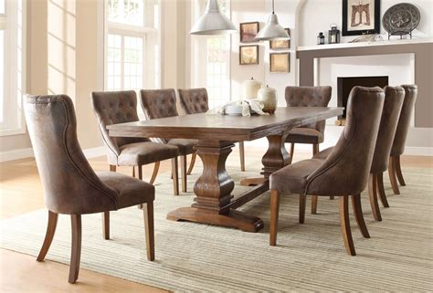 Homelegance Marie Louise 9 Piece Dining Room Set In Rustic | 9 pc homelegance marie louise dining set
