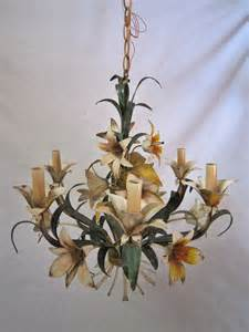 Vintage Flower Chandelier Italian Tole Flower Chandelier By Floridafound On Etsy