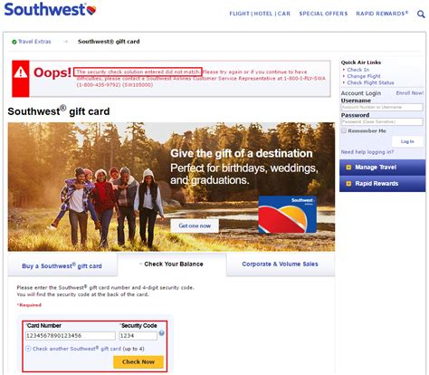 Check My Balance Gift Card - southwest airlines gift card balance lamoureph blog