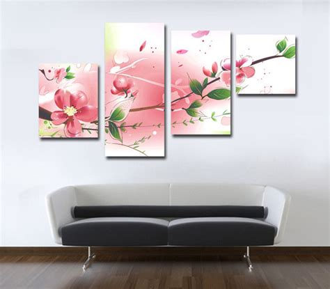 custom canvas prints pink color painting living room