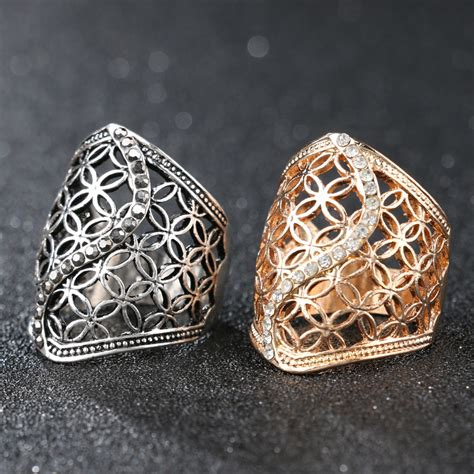 hollow big ring plating silver jewelry