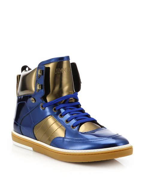 s jimmy choo sneakers jimmy choo metallic mirror high top sneakers in blue lyst