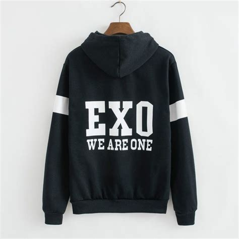 Hoodie Zipper Element Exo Black sweaters kpop