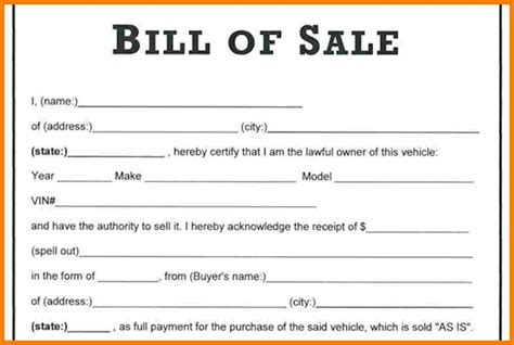 printable bill of sale template printable automobile bill of sale template in word format