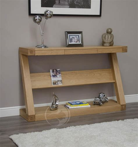 Z Oak Console Table Z Shape Oak Console Table Drawers Oak Furniture Uk