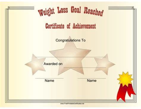 weight loss certificate template this printable certificate congratulates someone on