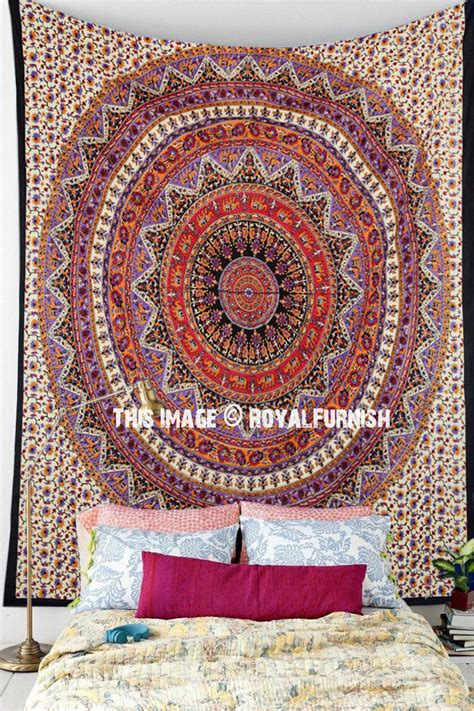 tapestry throws couch orange multi bohemian medallion mandala wall tapestry
