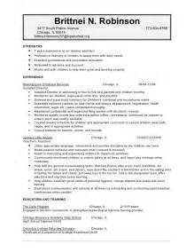 Child Care Provider Resume Sle by Robinson Brittnei Childcare Resume