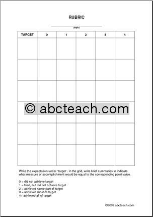 Rubric Template In Pdf Abcteach Free Rubric Template