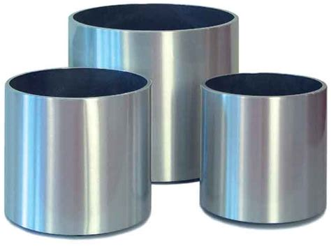Aluminium Planters by Aluminium Plant Containers Including Parel Spun Aluminium Brushed Polished And Hammered