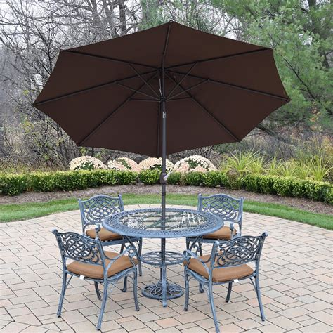 Patio Table Chairs Umbrella Set by Oakland Living Mississippi Cast Aluminum 7 Patio