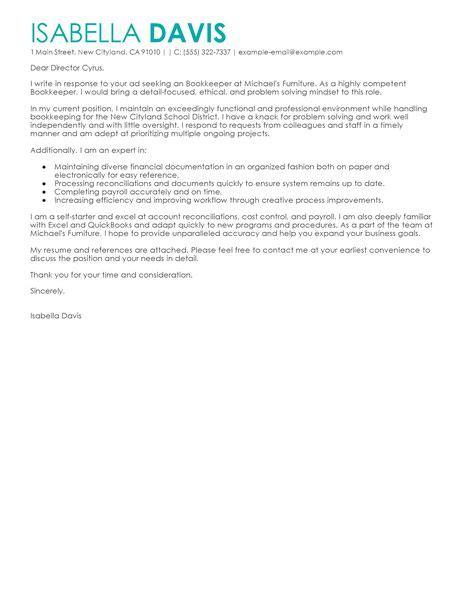 Bookkeeper Cover Letter Examples   Accounting & Finance