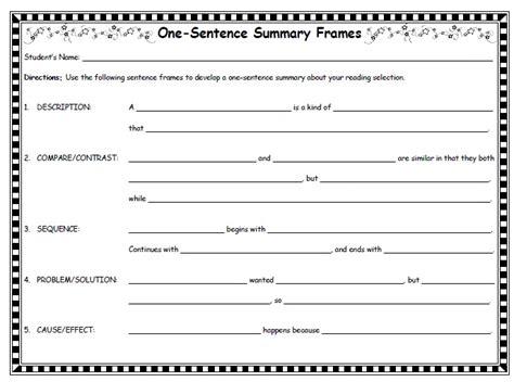 Idea And Details Summary Frames http www sanchezclass docs one sentence summary frames pdf esol reading