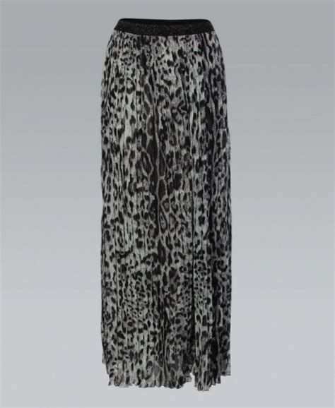 misskrisp pleated chiffon animal print grey maxi skirt