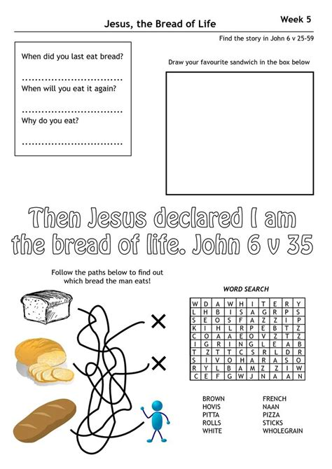 Jesus Worksheets For by 17 Best Jesus Is The Bread Of Images On